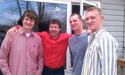 Bryan with his 3 Nephews; all sons of his Sister, Dawn